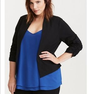 Torrid Deluxe Stretch Ruched Sleeve Blazer 0